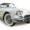 59-60 Corvette White On White by Kevin Doty