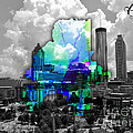 Atlanta Map And Skyline Watercolor by Marvin Blaine