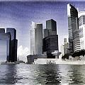 Financial District Of Singapore And View Of The Water In Singapore by Ashish Agarwal