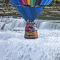 Hot Air Balloon Over The Middle Falls At Letchworth State Park by Jim Vallee