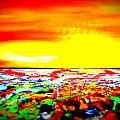 Modern Abstract Painting Original Canvas Art  Sunset By Zee Clark by Zee Clark