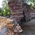 6219 Lake Superior Mature Nude Woman Meditating On The Shore by Chris Maher