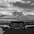 66 Vette Stingray In Black And White by Gill Billington