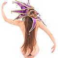 6622 Jester Mask On Beautiful Nude Woman Long Hair  by Chris Maher