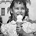 Girl With Ice Cream Cone by Underwood Archives