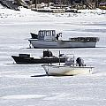 Boat And Ice Hobart Beach Ny by Susan Jensen