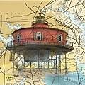 7 Ft Knoll Lighthouse Md Nautical Chart Map Art Cathy Peek by Cathy Peek