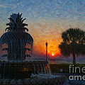 Pineapple Fountain At Dawn by Dale Powell