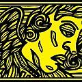 Dusseault Angel Cherub Yellow Black by Eddie Alfaro