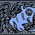 Bouthillette Angel Cherub Blue Black by Eddie Alfaro