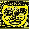 Jakubek Buddha Yellow Black by Eddie Alfaro