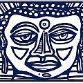 Trivane Buddha Blue White by Eddie Alfaro