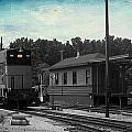 760 Train Engine Passing The Station Sc Textured by Thomas Woolworth