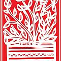Kimbrell Plant Leaves Red White by Eddie Alfaro