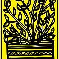 Heidecker Plant Leaves Yellow Black by Eddie Alfaro