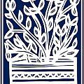 Stearne Plant Leaves Blue White by Eddie Alfaro