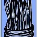 Chidester Plant Leaves Blue Black by Eddie Alfaro