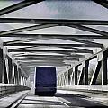 Blue Citylink Bus On A Metal Bridge In Scotland by Ashish Agarwal