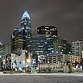 Charlotte Queen City Skyline Near Romare Bearden Park In Winter Snow by Alex Grichenko