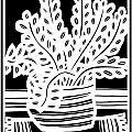 Schwiebert Plant Leaves Black And White by Eddie Alfaro