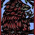 Batra Bird Brown Black Green Blue by Eddie Alfaro