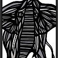Batra Elephant Grey Black White by Eddie Alfaro