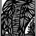 Cubr Elephant Black And White by Eddie Alfaro