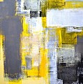 Busy Busy - Grey And Yellow Abstract Art Painting by CarolLynn Tice