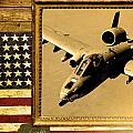 A-10 Warthog Rustic Flag by Reggie Saunders