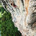 A Athletic Man Rock Climbing High by Patrick Orton