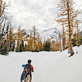 A Backpacker Hikes Through Snow by Christopher Kimmel