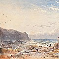 A Breezy Day With Fisherfolk On The Foreshore by William Cook of Plymouth
