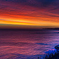 A Bright Colored Sunrise Panoramic At Scarborough Uk by Dennis Dame