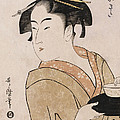 A Bust Portrait of the Waitress Okita of the Naniwaya Teahouse by Kitagawa Utamaro