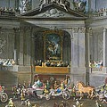 A Cavalcade In The Winter Riding School Of The Vienna Hof To Celebrate The Defeat Of The French by Martin II Mytens or Meytens