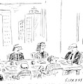 A Ceo Talks To His Board During A Board Meeting by David Sipress