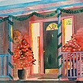 A Christmas At Home, House Prints, Porch Prints, House Paintings, House Prints, Christmas Paintings, by LeAnne Sowa