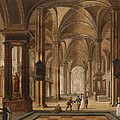 A Church Interior With Elegant People by Christian Stoecklin