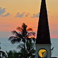 A Clock Tower At Sunset On Maui, Hawaii by Celin Serbo