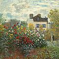A Corner Of The Garden With Dahlias by Claude Monet