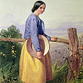 A Country Girl Standing By A Fence by William Lee