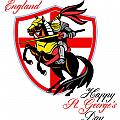 A Day For England Happy St George Day Retro Poster by Aloysius Patrimonio