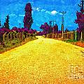 A Digitally Converted Painting Of An Empty Country Lane by Ken Biggs