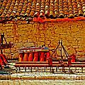 A Digitally Converted Painting Of Farm Machinery In A Turkish Village by Ken Biggs