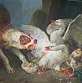 A Dog Attacking Geese, 1769 Oil On Canvas by Jean-Baptiste Huet