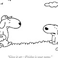 A Dog Talks To Another Dog Wearing Baseball Gear by Charles Barsotti