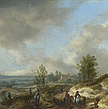 A Dune Landscape With A River And Many Figures by Philips Wouwerman