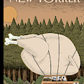 A Family Rides Home With A Giant Turkey Tied by Tom Gauld
