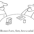 A Fat Waiter Holding A Notepad Comes To Take by Charles Barsotti