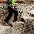 A Female Hiker Walking Up Steps Chopped by Ron Koeberer
